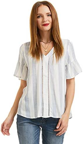 SONJA BETRO Women's Stripe Woven V-Neck Lace Inset Detail Short Ruffle Sleeve Tunic Top