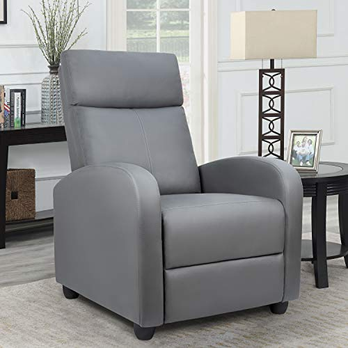 Homall Single Recliner Chair Padded Seat PU Leather Living Room Sofa Recliner Modern Recliner Seat Club Chair Home Theater Seating (Gray)