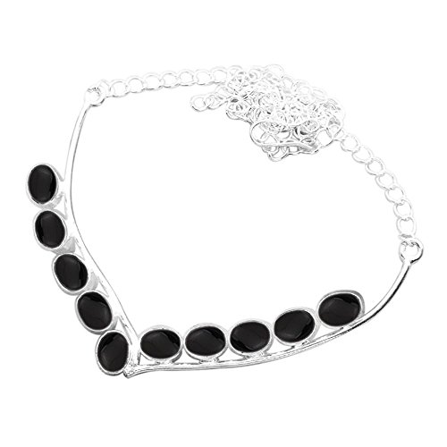 Genuine Black Onyx Necklace - 925 Silver Plated 12.50ct Genuine Black Onyx Necklace