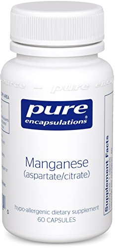Pure Encapsulations - Manganese (Aspartate/Citrate) - Hypoallergenic Trace Mineral Supplement for Connective Tissue and Bones* - 60 Capsules