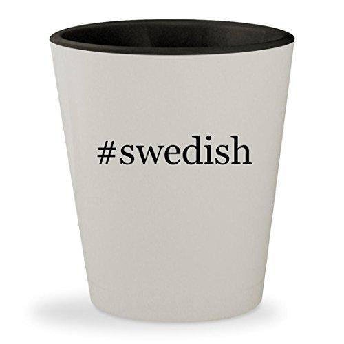 Price comparison product image #swedish - Hashtag White Outer & Black Inner Ceramic 1.5oz Shot Glass