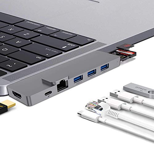 USB C Hub Dual Display Thunderbolt 3 Adapter Dock for Apple MacBook Pro2019,2018,2017 13/15inch,Mac Air2018 Dongle,HDMI 4K,100W Power Delivery,Gigabit Ethernet,40Gbps Thunderbolt 5K@60Hz,USB 3.0,SD/TF