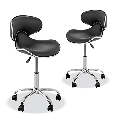 YK-9315 Stool with Adjustable Foot Rest Rolling Chair (Set of 2)(Black) by Osaki