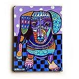 Blue Daschund by Artist Heather Diamond 18''x24'' Planked Wood Sign Wall Decor Art