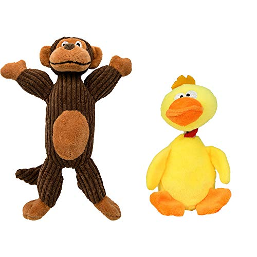 Duck Monkey Dog Toys Dog Stuffed Animals Chew Toy Puppy Squeaky Plush Dog Toys for Medium and Small Pet Dogs(2 Packs) ()