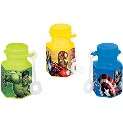 Amscan Avengers Birthday Party Mini Bubble Maker Favor, 0.6 oz, Yellow/Green/Blue (Avengers Party Favours)