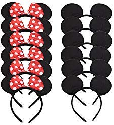 Set of 12 Mickey Minnie Mouse Costume Deluxe Fabric Ears Headband White Polka Dots Bow Boys Girls Birthday Party Hairs Accessories Baby Shower Headwear Halloween Party Favors Decorations (Red -