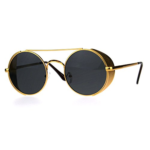Mens Round Circle Lens Side Visor Metal Rim Retro Sunglasses Yellow Gold - Cafe Racer Sunglasses