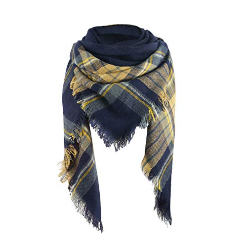 (Women's Soft Warm Plaid Chunky Scarf Fall Winter Large Checked Blanket Scarves Wrap Shawl Yellow Navy)