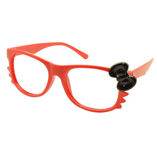 FancyG® Cute Nerd Glass Frame with Bow Tie Cat Eyes Whiskers Eyewear for Kids 3-12 NO LENS - Red with Black (Cute Girl Nerd Costumes Halloween)