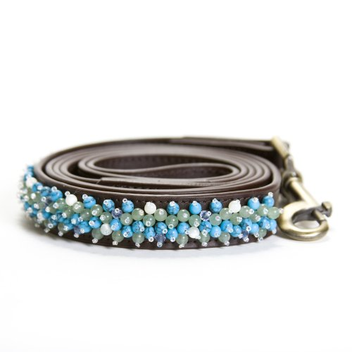 Dosha Dog Turquoise Beaded Brown Large Leash