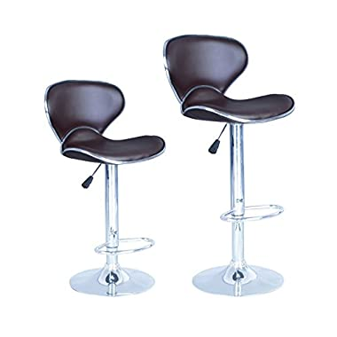 BrownModern Adjustable Synthetic Leather Swivel Bar Stools Chairs B03-Sets of 2