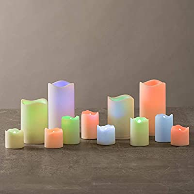 Outdoor Flameless Candle Set - 12 Assorted Pillar Candles, Warm White or Color-Changing Flickering LED Lights, Ivory Waterproof Resin, All Batteries Included