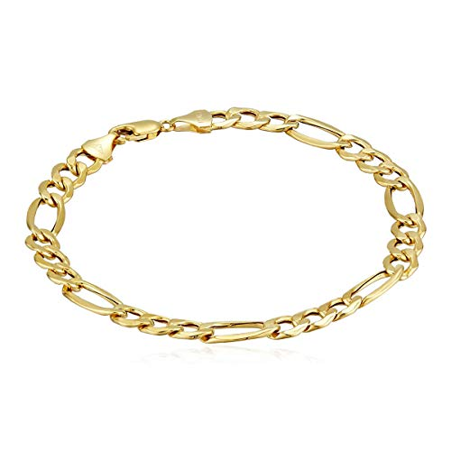 Men's 10k Yellow Gold Hollow Figaro Bracelet, 8.5