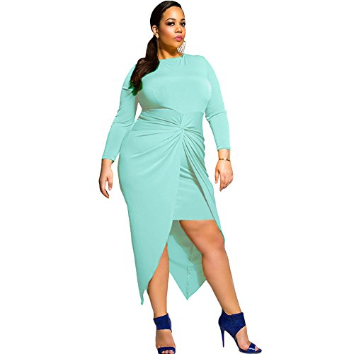 benningco-womens-knotted-slit-long-sleeve-plus-dressblue3xl