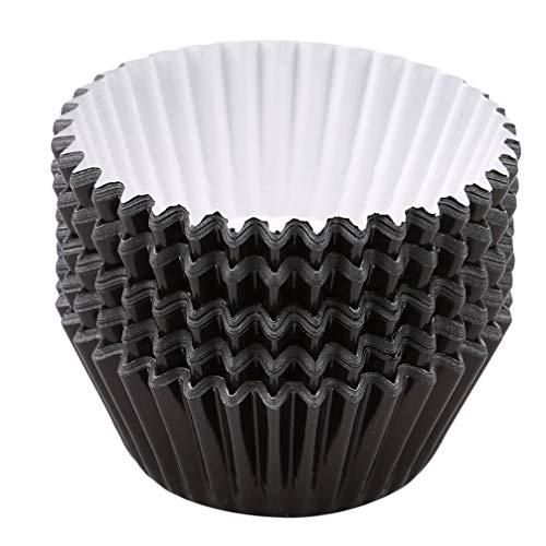 Potelin Premium Quality 100 Pcs/Set Foil Metallic Cupcake Case Liners Muffin Paper Baking Cups Aluminum Foil Cups Baking Muffin Cupcake Tin Mold,Black