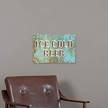5-Pack Ice Cold Beer Ghost Aged Blue Premium Brushed Aluminum Sign CGSignLab 27x18