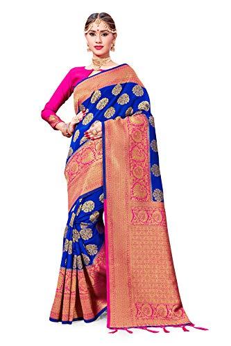 Saree for Women Banarasi Art Silk Woven Sarees l Indian Wedding Traditional Wear Sari and Blouse (Pink)