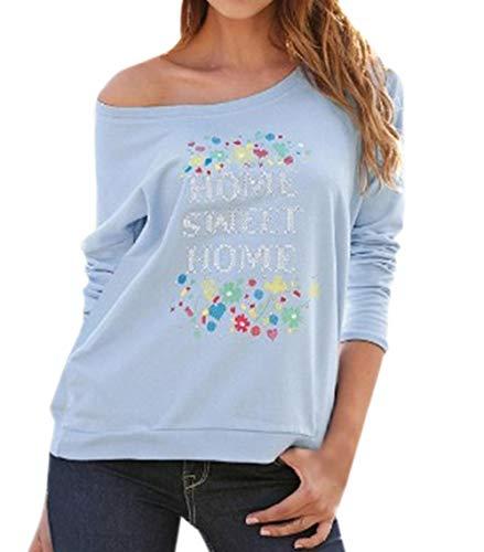 T Tees Col Shirts Fashion Blouse Shirts et Rond Bleu Hauts Tops Imprime Sweat Pulls Longues Printemps Jumpers Automne Femmes Chemisiers Manches qCzwvCFa