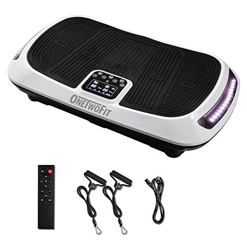ONETWOFIT Double Motor Fitness Vibration Platform,3D Vibration Plate Whole Body Vibration Workout Machine Exercise Equipment for Home with Plush Carpeting & Balance Straps OT107