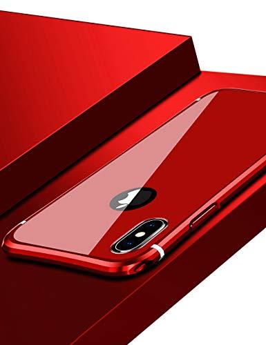 アレンジとんでもない神秘的なiPhone Xs Max ケース バンパー uovon 高品質アルミ製フレーム + バックプレート スクラッチ保護 アイフォンXs Max カバー オシャレデザイン 最高レベル耐衝撃 カバー (iPhone Xs Max, レッド)