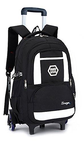 - Meetbelify Kids Rolling Backpacks Luggage Six Wheels Unisex Trolley School Bags Climbing Stairs White