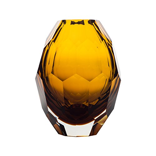 CASAMOTION Home Decor Accent Vase Diamond Shape Solid Color Hand Blown Art Glass Vase, Amber Amber Blown Glass