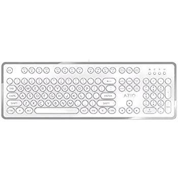 Azio MK-RETRO-06 USB Typewriter Inspired Mechanical Keyboard (Blue Switch), White and Silver Edition