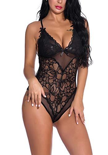 FaroDor Women V Neck Lace Lingerie Teddy Underwear Snap Crotch One Piece Babydoll Mini Bodysuits Black Small