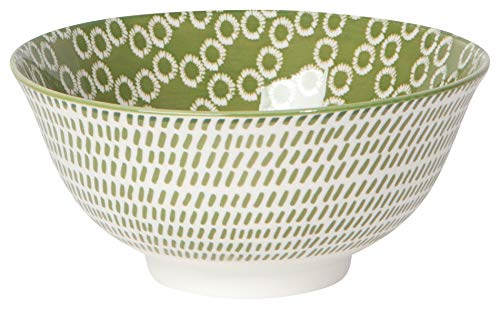 Now Designs 5043019aa Bowls with Metallic Rims Stamped Porcelain, 10 Ounce Capacity, Green Ring ()