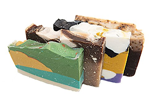 Falls River Soap Company Morning Energy Soap Collection - 4(Four) 2Oz Guest Bars, Sample Size Soap -Natural Handmade Soaps for Fresh Morning Shower. Oatmeal Honey, Green Tea, White Tea, Coffee Soap