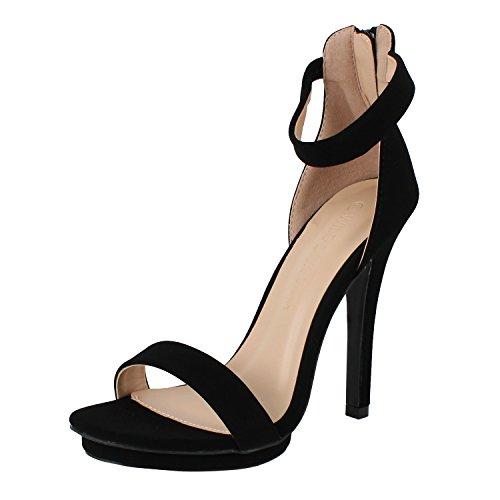 Wild Diva Amy-01 Womens Open Toe Ankle Strap High Stiletto Heel Platform Sandal,Black,7.5