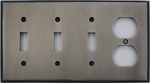 Antique Pewter 1 Toggle - Antique Pewter Four Gang Wall Plate - Three Toggle Light Switch Openings One Duplex Outlet Opening