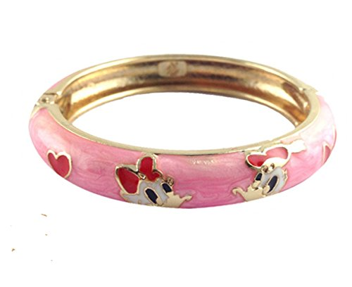 UEEN JULIA | Kids Girl Bracelet Gold Finish White Enamel Bangle Hello Kitty Mickey Mouse, Donald Duck Bangle Bracelet Jewelry for Kids Birthday Celebration Xmas (Gold Enamel Duck)