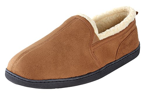 (Urban Fox Dixon Suede Slippers Men I Rubber-Sole with Grips I Thickly Padded I 100% Boa Lining I Comfortable House Slippers I Slippers for Men | Chestnut 12-13)