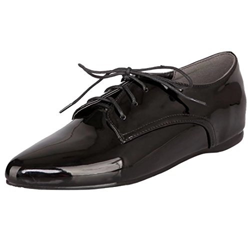 AIYOUMEI Flache Pumps mit Schnürung Freizeitschuhe Damen Lace up Shoes Schwarz
