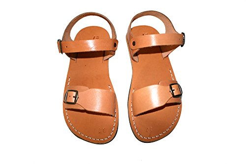 Caramel Eclipse Leather Sandals Unisex Leather Sandals / Genuine Handmade Leather Holy Land Biblical Jesus Sandals (EURO  42)