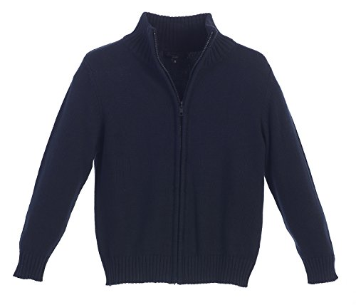 Gioberti Boy's Knitted Full Zip 100% Cotton Cardigan Sweater, Navy, Size 7 by Gioberti (Image #4)
