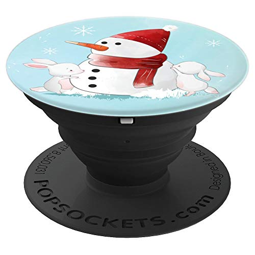 Bunnies Building Snowman - PopSockets Grip and Stand for Phones and Tablets
