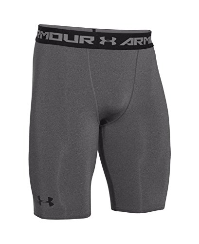 Under Armour Men's HeatGear Armour Compression Shorts – Long, Carbon Heather (090)/Black, Small by Under Armour (Image #3)