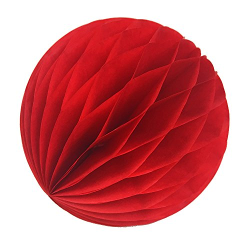 SUNBEAUTY 2(5cm) Pack of 20 Red Tissue Paper Honeycomb Balls Wedding Decoration Birthday Baby Shower Bridal Shower
