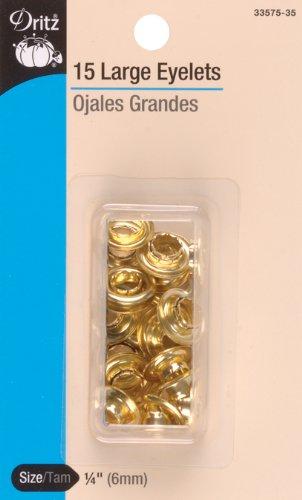 Dritz 0340176 Eyelet Refills 1/4in 15/Pkg Brass,