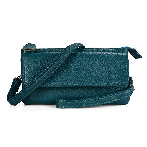 (Befen Leather Wristlet Clutch Smartphone Crossbody Wallet with Card Slots/Shoulder Strap/Wrist Strap (Teal Small))