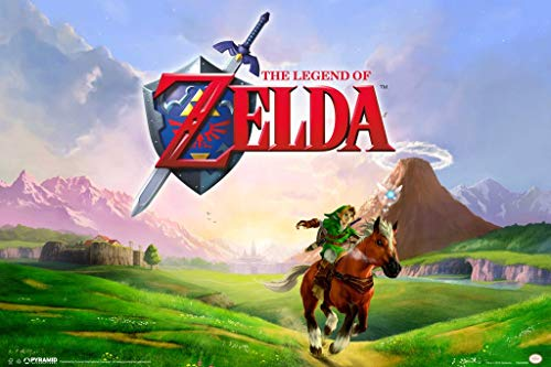 Pyramid America Laminated The Legend of Zelda Link Galloping Epona Ocarina of Time Nintendo Video Game Series Sign Poster 12x18 inch (Legend Of Zelda Ocarina Of Time 3ds Price)