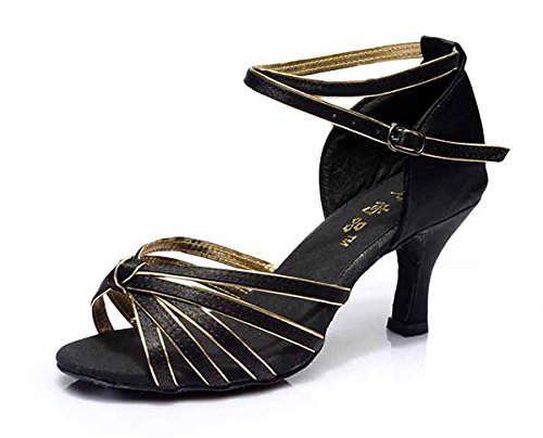 YFF Neue Women's Ballroom Latin Tango Schuhe 5 cm und 7 cm hohem Absatz,schwarz gold,7 cm,6.