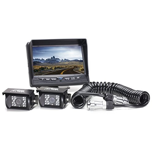Rear View Safety Backup Camera System 2 Camera with Quick Connect Kit for Fifth Wheels, Trailers, Travel Trailers and Semi-Trucks RVS-770614-213