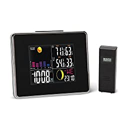 Wireless Weather Station, Color Display Ambient Weather Forecaster with Atomic Clock, Alarm Clock