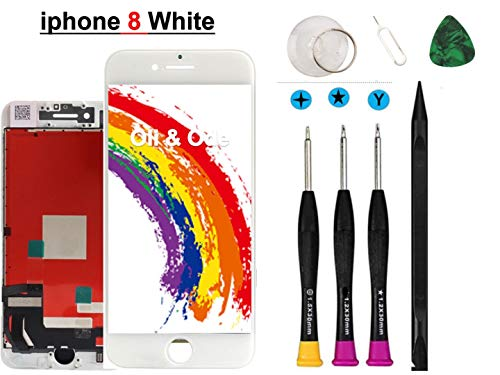 (Oli & Ode Compatible with iPhone 8 Screen Replacement (4.7 Inch White), LCD Digitizer Touch Screen Assembly Set with 3D Touch, Repair Tools and Professional Replacement Manual Includ)