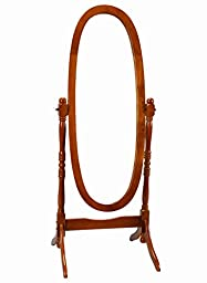 Frenchi Home Furnishing Oak Cheval Mirror, Adjustable Full-length Oval Mirror