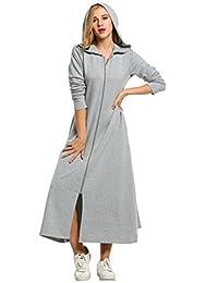 Zeagoo Women's Long Sleeve Zipper Up Ultra-Soft Fleece Hoodie Robe With Pockets